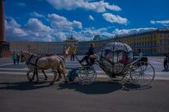 ST PETERSBURG, ROSJA, 02 2018 MAJ: Plenerowy widok kareciani konie na tle zima pałac z niektóre Fotografia Stock