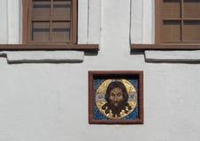 St Petersburg Rosja, Wrzesień, - 06, 2017: Ikona na białej ścianie między okno Obrazy Stock