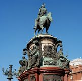 St Petersburg Rosja, Wrzesień, - 24, 2017: Zabytek Nicholas Ja, brązowy equestrian zabytek Nicholas Ja Fotografia Royalty Free