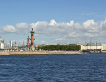 St. Petersburg, Rostral columns on Vasilyevskiy island Royalty Free Stock Photos