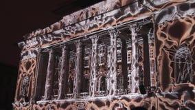 ST PETERSBURG, RUSIA - 29 DE ABRIL DE 2016: trazado 3D Teatro de Alexandrinsky La proyección de las formas geométricas y almacen de video
