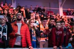 ST PETERSBURG, RUSIA - 29 DE OCTUBRE DE 2017: Huelga del contador del EPICENTRO: Acontecimiento deportivo cibernético ofensivo gl imagen de archivo