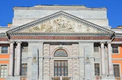St Petersburg, Rusia, febrero, 27, 2018 Fachada del castillo de Mikhailovsky en el invierno St Petersburg Imágenes de archivo libres de regalías