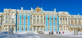 St Petersburg, Rusia las opiniones Catherine Palace en el invierno fotografía de archivo libre de regalías