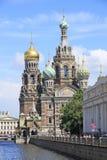 St. Petersburg Rusland - June13 2012 - Toeristen die dichtbij Verlosser op Bloedkerk lopen Royalty-vrije Stock Afbeelding
