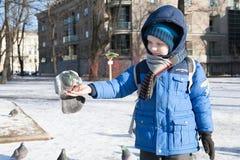 ST PETERSBURG, RUSLAND - MAART 05: Het kind voedt een duif van handen, RUSLAND - MAART 05 2017 Stock Foto