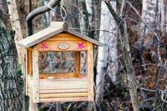 St. Petersburg, Rusland - November 22, 2018:: Vogelvoeder in de vorm van een huis op een tak in het de winterbos stock foto