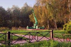 ST PETERSBURG, RUSLAND - September 7, 2014: Luchtafweerkanon, bij een gedenkteken Royalty-vrije Stock Foto
