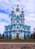 St. Petersburg, Rusland, 2019-04-13: Smolnykathedraal royalty-vrije stock afbeeldingen
