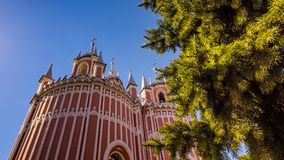 Chesme Gothic church. Church of St John the Baptist Chesme Palace in Saint Petersburg,. St. Petersburg, Russia – April 10, 2018 : Chesme Gothic church.  Church Royalty Free Stock Photo