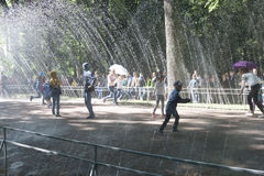 St. Petersburg, RUSSIA-28 Of August, 2016. Fountain Water Path Royalty Free Stock Photo