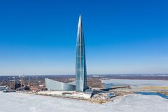 Free ST. PETERSBURG, RUSSIA - APRIL, 2019: Lakhta Center, The Tallest Skyscraper In Europe. Winter View Shot From A Quadcopter Stock Image - 169267241