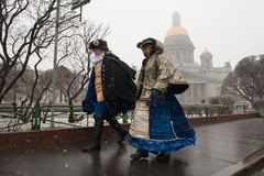 Rain with snow in St. Petersburg royalty free stock photography