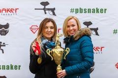 St Petersburg, Russia - 24 aprile 2016: Il torneo di paintball nel club di Snaker fra lo studente teams da cinque università Fotografie Stock Libere da Diritti