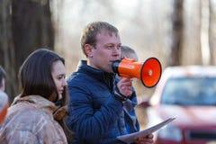 St Petersburg, Russia - 10 aprile 2016: Torneo dello studente di paintball dell'università di Bonch Bruevich nel club di Snaker Immagini Stock Libere da Diritti