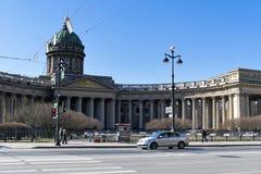 St Petersburg, Russia, aprile 2019 Vista della cattedrale di Kazan in molla in anticipo fotografia stock libera da diritti