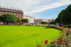Astoria hotel and Isaac square in St Petersburg, Russia Stock Image