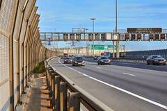 Road traffic on highway in Saint Petersburg, Russia royalty free stock image