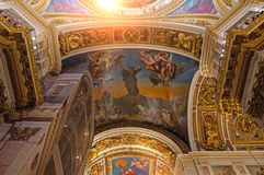 Interior of the St Isaacs Cathedral, St Petersburg, Russia - ceiling ornated with Bible paintings Royalty Free Stock Image