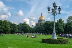 St. Petersburg, Russia, August 18, 2017 - City Park on the background of the Saint Isaac`s Cathedral Isaakievskiy Sobor stock images