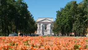 Flowers in front of the Mikhailovsky Castle Stock Photo