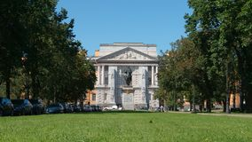 Green grass in front of the Mikhailovsky Castle Stock Photo