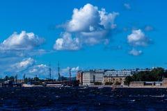 St. Petersburg, Russia - 29 August, 2018:Neva river embankment under the blue sky stock photos