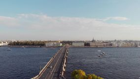 St. Petersburg, Russia - August 21, 2018: panorama of the city overlooking the Peter and Paul fortress. Hare island. Drone footage stock video