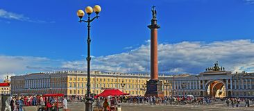 St. Petersburg, Russia - 15 AUGUST 2016 Panorama of Palace square royalty free stock photography