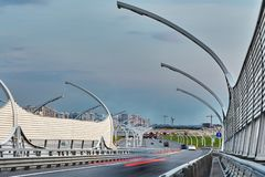 Expressway with noise barrier fence in St. Petersburg stock image