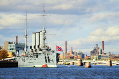 St Petersburg, Russia. Aurora cruiser, a battleship participated in October Revolution, now a museum, St Petersburg, Russia royalty free stock image