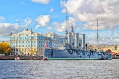 St Petersburg, Russia. St. Petersburg, Russia, Aurora cruiser, the battleship sparked Great October Communist Revolution in 1917 royalty free stock photo
