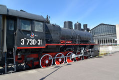 ST. PETERSBURG, RUSSIA. The cargo engine of Em 730-31 at the platform of the Warsaw station Stock Image