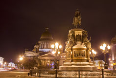 St. Petersburg, Russia, cathedral of St. Isaak and monument to k Royalty Free Stock Photography