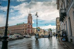 St. Petersburg, Russia - Circa June 2017: The historical center of St. Petersburg, Nevsky Prospekt, pavement, ancient buildings stock photography