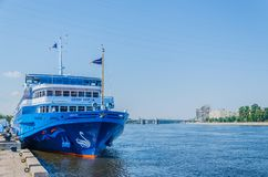 St. Petersburg, Russia - 07.16.2018: Cruise ship Swan Lake on the pier on a clear sunny day. River cruises are a great vacation stock photos