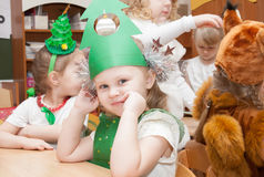 ST. PETERSBURG, RUSSIA - DECEMBER 28: Festively dressed children are engaged in kindergarten,RUSSIA - DECEMBER 28 2016. Royalty Free Stock Images