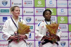 Medal ceremony in Women U63 of Judo World Masters 2017 Royalty Free Stock Photos