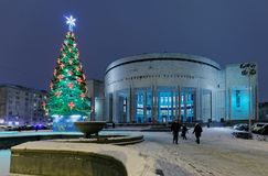 Christmas tree against National Library of Russia Royalty Free Stock Image