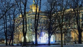 Winter palace in St. Petersburg decorated for Christmas Stock Images