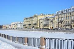 St. Petersburg, Russia, February, 27, 2018. Saint Petersburg, embankment of the Fontanka river in winter. Houses 24, 26, 28, 30. St. Petersburg, Russia royalty free stock images