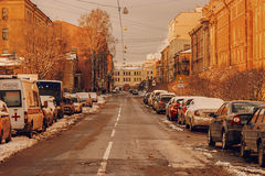 St Petersburg Russia 24 of Feb. 2016: Street with prked cars coverd with snow after night snowfall Royalty Free Stock Photo