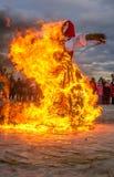 St Petersburg, Russia - 22 febbraio 2015: Festività Maslenitsa su Vasilyevsky Island Immagine Stock Libera da Diritti