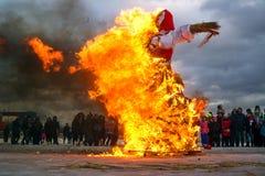 St Petersburg, Russia - 22 febbraio 2015: Festività Maslenitsa su Vasilyevsky Island Fotografia Stock Libera da Diritti