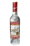 ST. PETERSBURG, RUSSIA - February 09, 2016: Bottle of Vodka Stolichnaya Stoli alc.40%, SPI Group. ST. PETERSBURG, RUSSIA - February 09, 2016: Bottle of Vodka Royalty Free Stock Photo