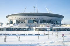New modern stadium Saint Petersburg Arena close-up on a sunny February day Royalty Free Stock Images