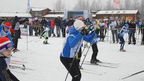 One of starts during the Ski Track of Russia 2017 stock footage
