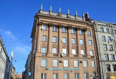 St. Petersburg, Russia, February, 27, 2018. Residential building, built in the style of Stalinist Neoclassicism in 1950-1960 years. St. Petersburg, Russia royalty free stock images