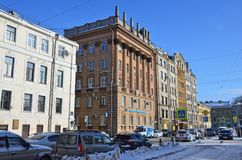 St. Petersburg, Russia, February, 27, 2018. Residential building, built in the style of Stalinist Neoclassicism in 1950-1960 years. St. Petersburg, Russia royalty free stock photos