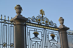 ST. PETERSBURG, RUSSIA. Fragment of gate and lattice of the Summer garden Royalty Free Stock Image